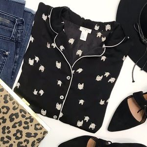 FOREVER 21 Black Cat Lover Piped Pajama Blouse